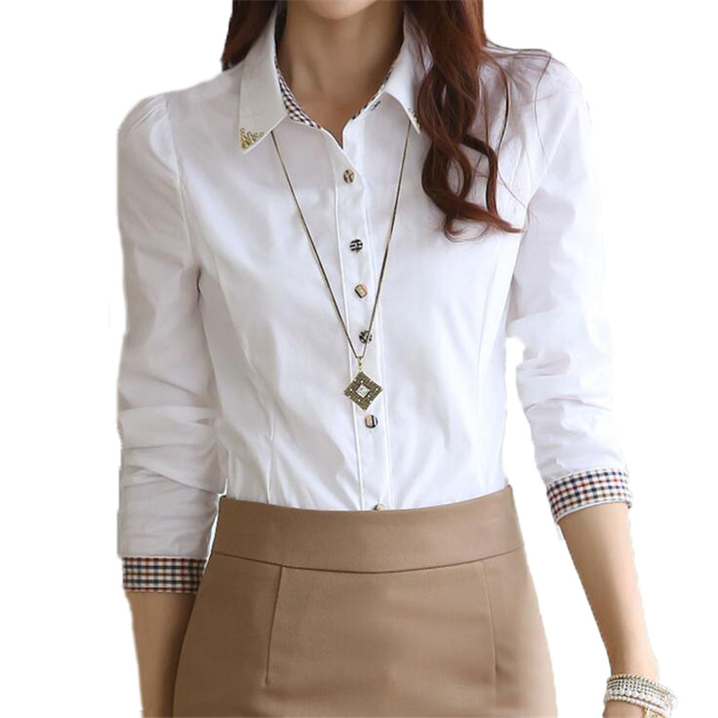 Women Formal White Shirts S 5XL Long Sleeve Female Lady ...