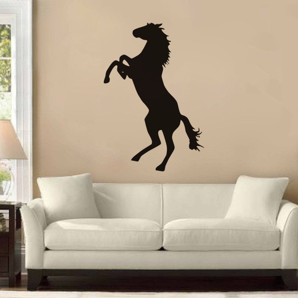 Standing Horse Wall Stickers Quotes Home Decor Living Room Black custom  color Vinyl Wall Decals Stickers