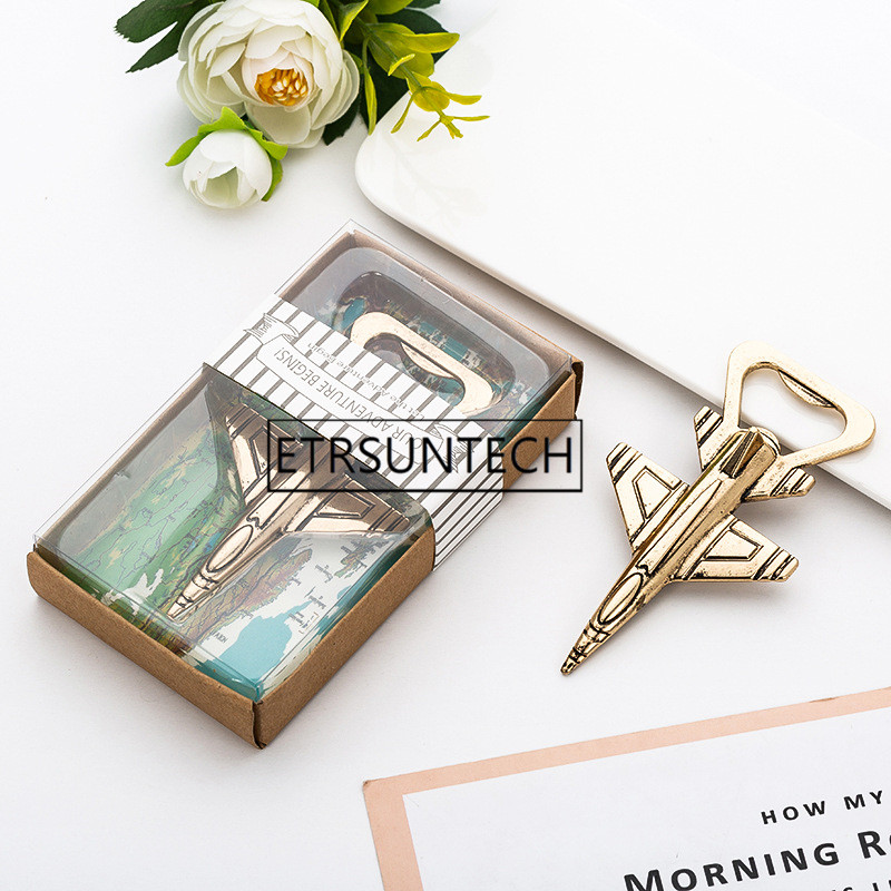 50pcs Antique Airplane Bottle Opener Wedding Favors Gift Aircraft Plane Beer Opener Party Decoration image