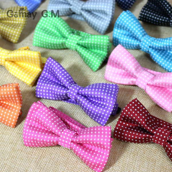 NEW Dots Children Bowtie Fashion Neckwear Adjustable Unisex Bow Tie For Boy And Girl Polyester Pre-Tied