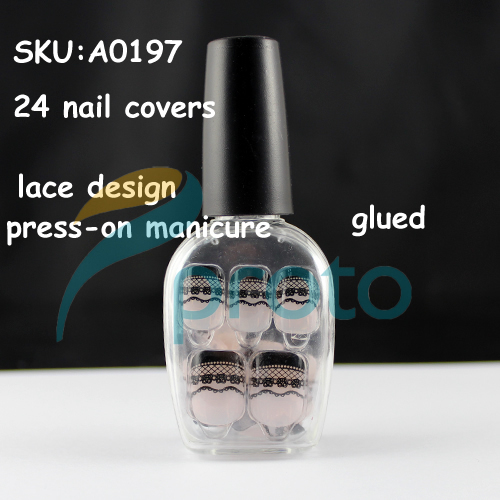NEW Fashion 24 Nails Full Covers Black Lace Press-On Manicure Fast&Easy Salon Manicure Nail Art Dropshipping [Retail] SKU:A0197