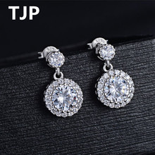 TJP Shiny Crystal Syones Girl Stud Earrings Rose Gold Lady Female Jewelry Fashion Silver 925 For Women Party Gift Bijou
