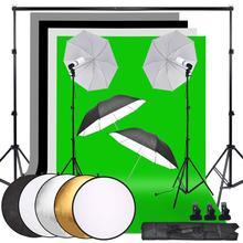 Zuochen Fotografie Studio Achtergrond Zachte Paraplu Verlichting Kit + Achtergrond Ondersteuning Stand + 60Cm 5in 1 Reflector + 135W Lamp