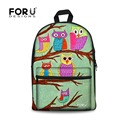FORUDESIGNS Women Canvas Backpack Girls School Backpack for Teenagers Owl Print Backpack Female Zoo Animals Bagpack Kid Rucksack