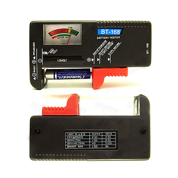 Double easy to read color coded universal battery tester checker aa aaa 9v button multiple sizes