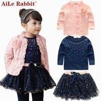 AiLe Tavşan 2016 bahar bebek kız giyim setleri 3 parça suit kızlar çiçek ceket + mavi T Shirt + tutu etek kız giysi