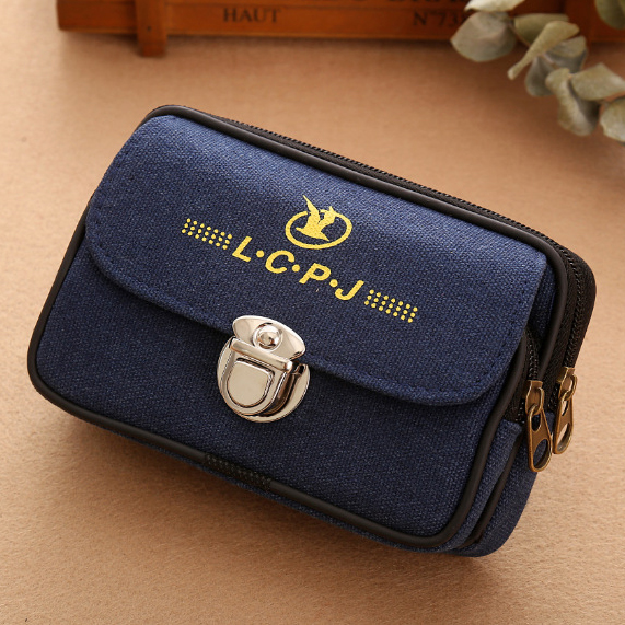 Men Fanny Pack For Mobile Phone Cover Double Zipper Coin Purse Fabric Waterproof Good Quality Belt Bag Pocket Waist Packs Bags