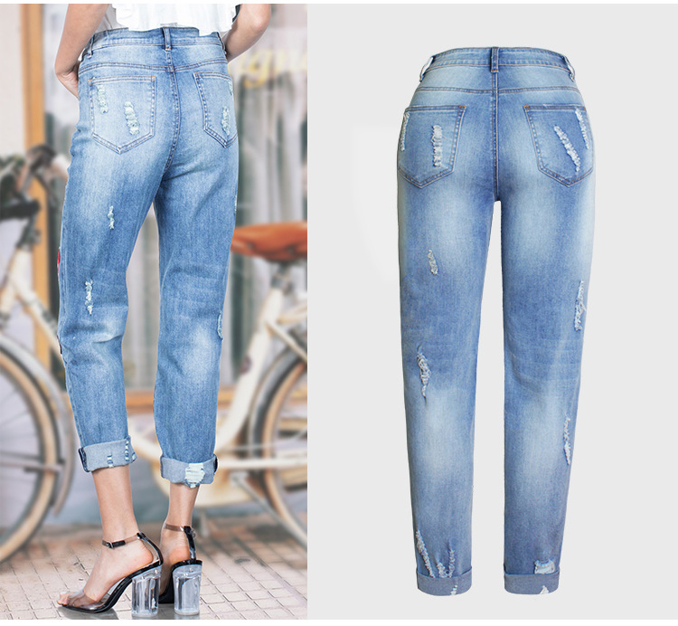 2017 Europe and the United States new women stretch loose jeans women trousers color flowers 3D stereo embroidery holes jeans (5)