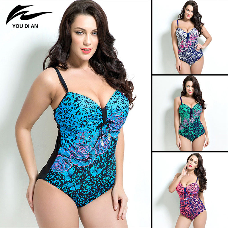 Sexy Push Up Bikini Bathing Suit Swimwear Women Floral Print Plus Size One Piece Swimsuit Beach Wear 7XL plus size swimwear one piece swimsuits sexy women push up padded bikinis floral beach bathing suits push up swim wear monokini