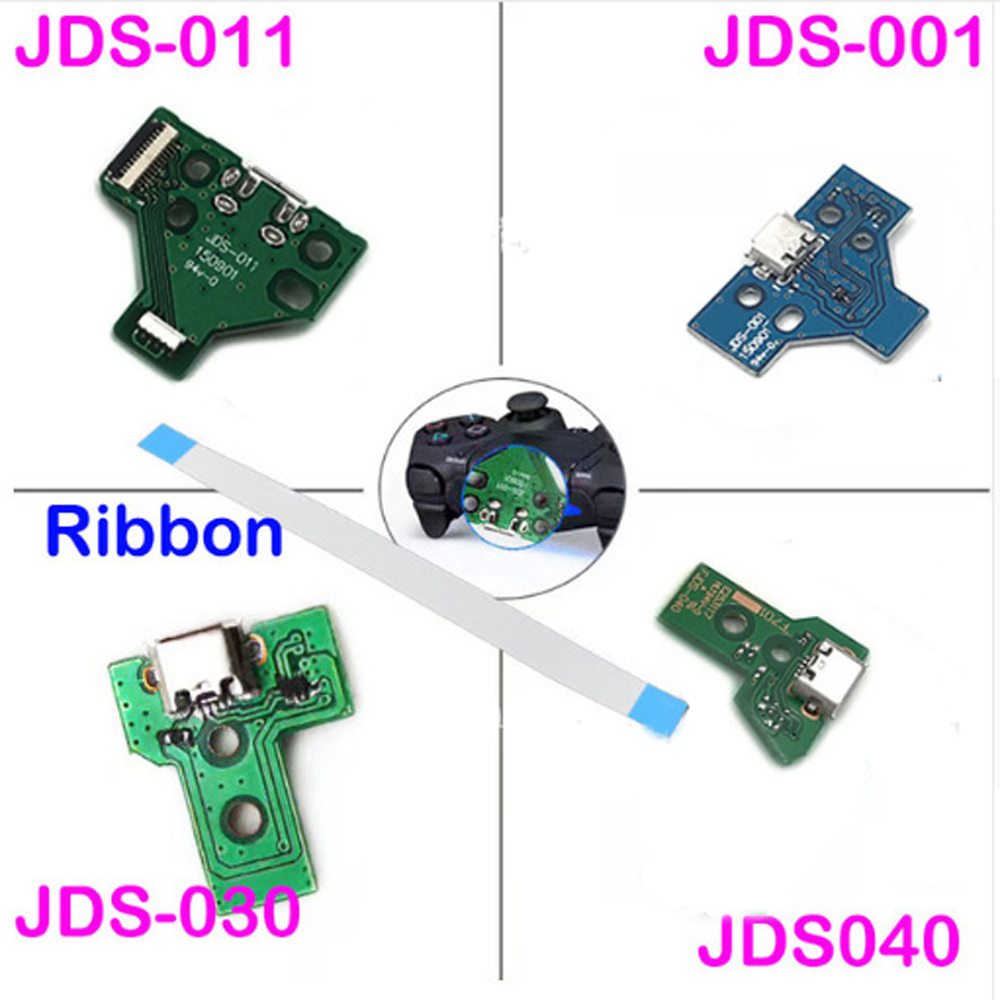 JDS-001 JDS-011 JDS-030 JDS-040 USB Charging Port Board  + 12/14 Pin Ribbon Flex Cable For PS4 Controller DualShock 4
