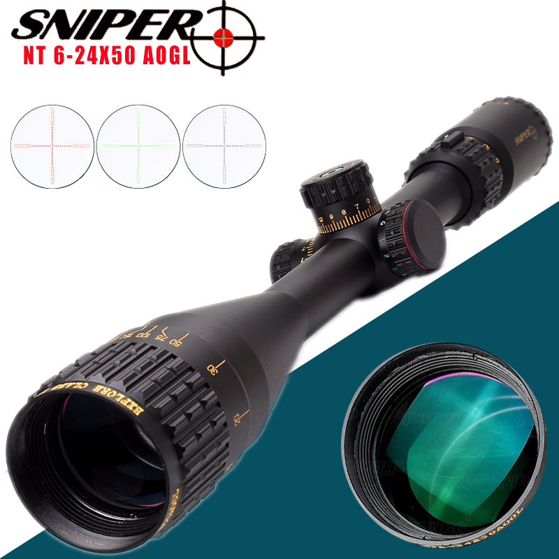 Sniper NT 6-24X50 AOGL Riflescope Tactical Rifle Scope Glass Etched Reticle Hunting Optics Sight With Weaver Or Dovetail Rings