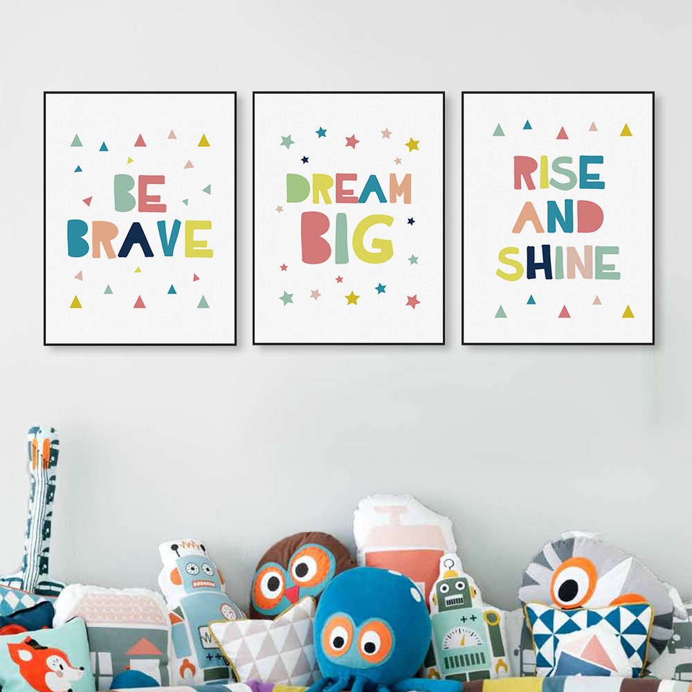 kawaii minimalist colorful dream brave quotes canvas art print