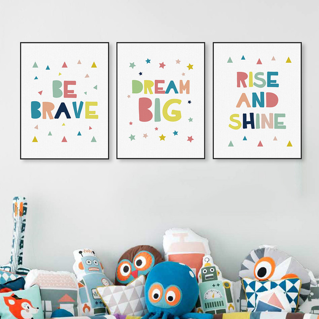 Kawaii Minimalist Colorful Dream Brave Quotes Canvas Art Print Poster Wall Picture No Frame Kids Baby Room Decor Painting