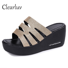 2019 summer thick-soled sandals wedges sequins hollow muffin bottom breathable with 7cm shopping dating C1519