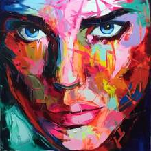 canvas Painting Palette knife Face oil painting Custom portraits Francoise Nielly style