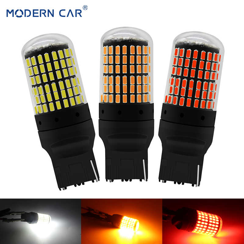 MODERN CAR T20 7440 W21W LED Bulbs 3014 144smd led CanBus 1156 BA15S P21W BAU15S PY21W led lamp For Car Turn Signal Light Yellow