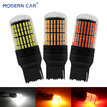 цена на MODERN CAR T20 7440 W21W LED Bulbs 3014 144smd led CanBus 1156 BA15S P21W BAU15S PY21W led lamp For Car Turn Signal Light Yellow