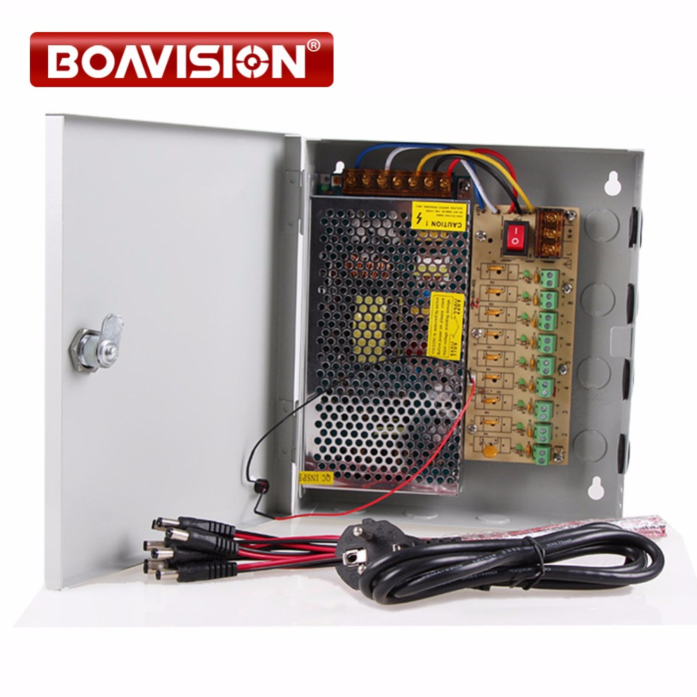 Power supply 12V 10A Power Supply Box CCTV CCD Camera 12V DC 9 Port Pigtail