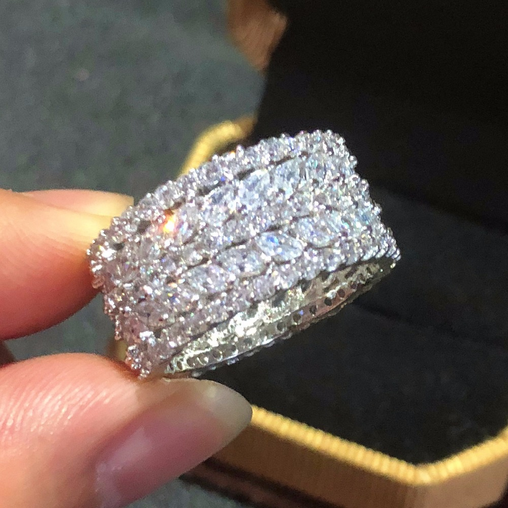 Luxury 925 Sterling Silver Jewelry Brand Marquise Cut Simulated Diamond Painting Full CZ Engagement Wedding Rings For Women