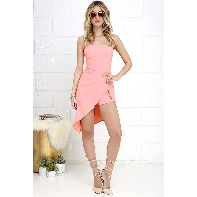 d159ce5459 FK1040 Women Formal Jumpsuits Chest Wrapped Strapless Off the shoulder  Playsuit Rompers Short Pants Barboteuse Overalls-in Rompers from Women s  Clothing on ...