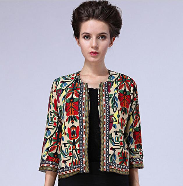 La primavera y el otoño nueva primavera 2015 mujeres abrigos Vintage de señora impresión Floral étnico chaqueta corta delgada capa B123