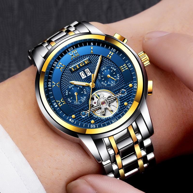 Relogio masculino LIGE Mens Relógios Top Marca de Luxo Automático Mecânica Assista Homens de Aço Completa Negócios Relógios Esportivos Prova D' Água