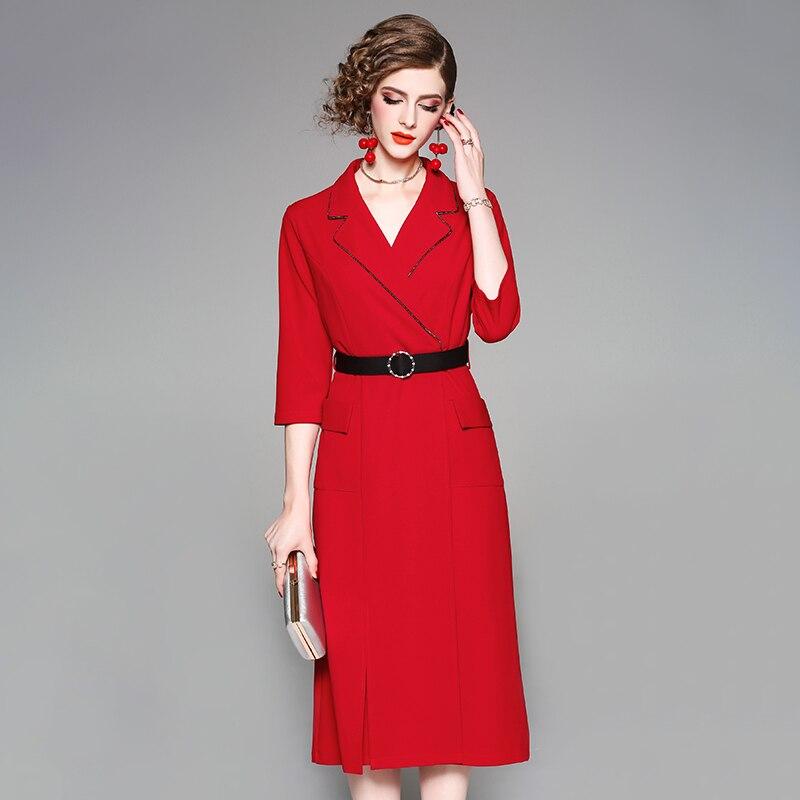 rouge Printemps Robe Rouge Automne Avec Noir Sash Noir Manches Bureau 4 3 Lady Mode Veau Perlé Col Femme Longueur Cranté HqCHR4