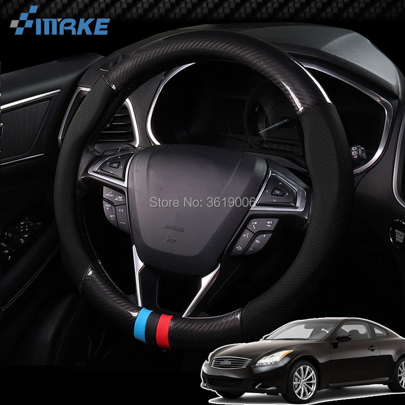 smRKE For Infiniti G37 Sport Steering Wheel Cover Anti-Slip Carbon Fiber Top PVC Leather Sport Style