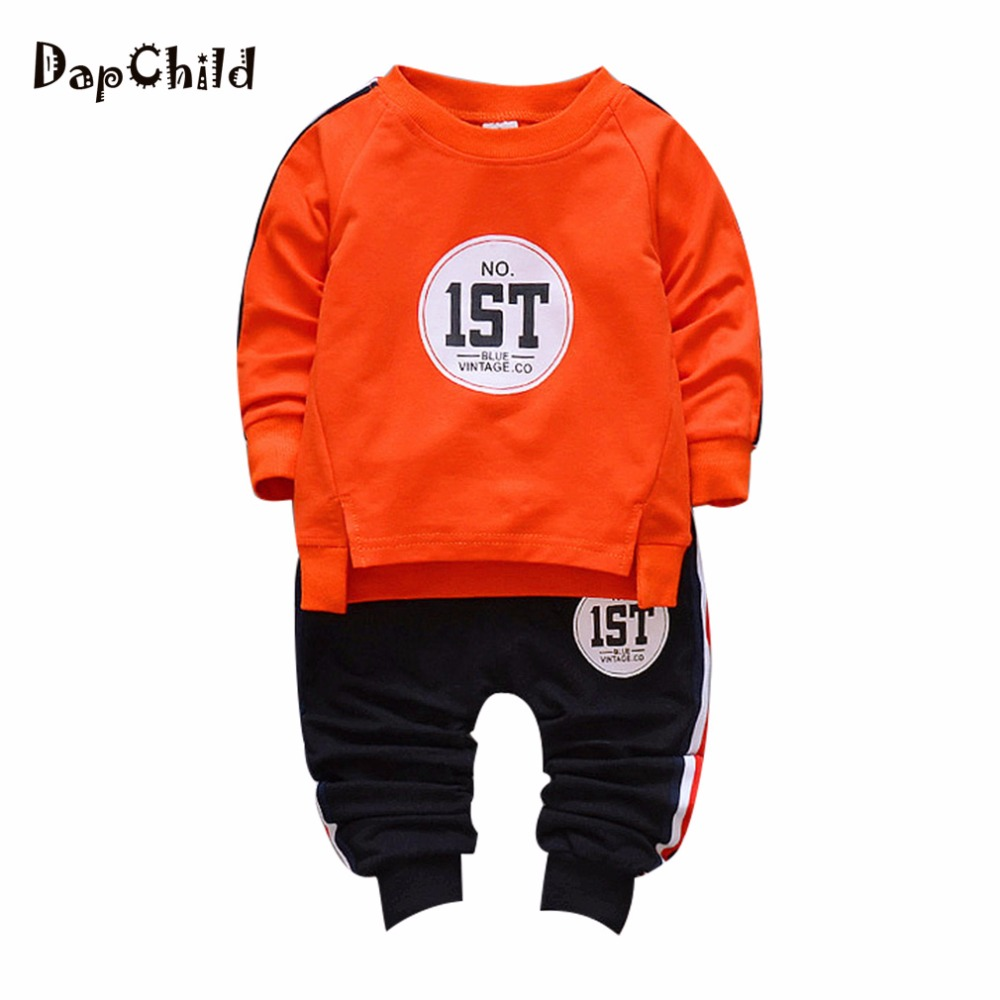 Cotton Baby Clothes For Girl and Boy Sport Suit Long Sleeve O-Neck Orange Green Yellow Color No.1 English Letter Children Outfit цены онлайн