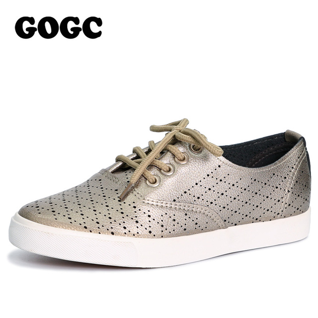 GOGC 2017 Breathable Leather Women Shoes Summer Women Causal Shoes with  Hole Comfortable Sneakers Women Brand