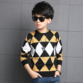 Muchachos de la venta caliente Suéter de la Marca Kids plaid Knit Pullover Moda Para Niños Ropa Niños Chaqueta de Invierno Cálido Suéter de Las Rebecas