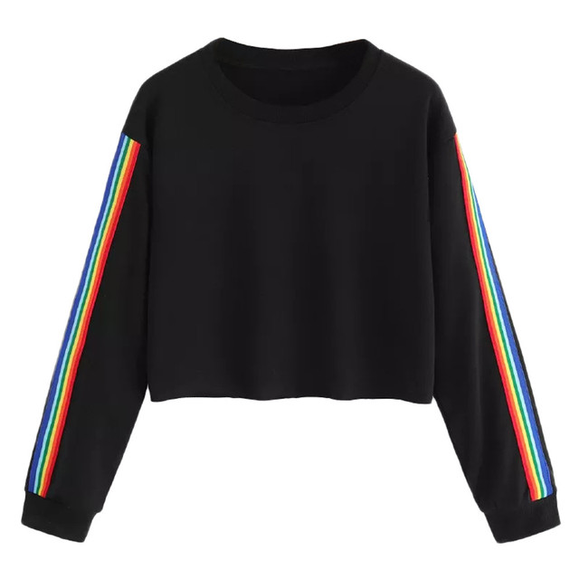 Sweatshirts Women Fashion Rainbow Patchwork Long Sleeve Hoodie homens Sweatshirt Pullover Tops Crop Blouse
