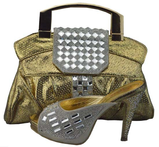ФОТО Wholesale Italian Ladies Matching Shoes And Bags Set With Stones High Quality African Shoes With Bag Set For Party 1308-37