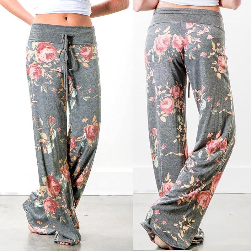 Colorblock Flower   Wide     Leg     Pants   autumn winter Women 2019 Streetwear High Waist   Pants   Elastic Casual Drawstring Long Trousers