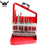 EVANX 10pcs Screw Extractor Drill Bits Guide Set Twist Drill Damage Broken Bolt Remover Demolition Hand Tools