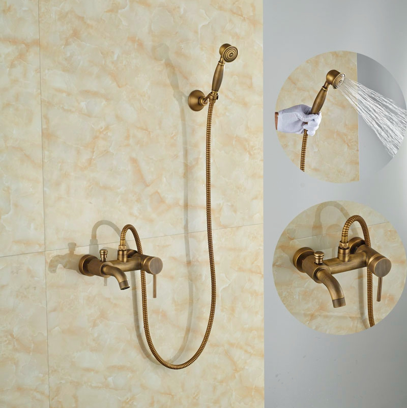 Contemporary Brass Antique Shower Set Bathroom Wall Mounted Single Lever Mixer Tub Faucet