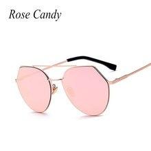 Rosa Caramelo 2016 Nuevos Momen Lujo Superior Plana Lente Espejo Gato ojo gafas de Sol de la Señora de Las Mujeres Diseñador de la Marca Retro Gafas de sol oculos