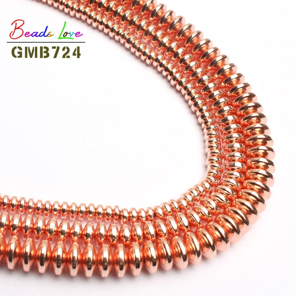 Rose Gold Rondell Hematite Beads For Jewelry Making Natural Stone beads Spacer Beads Diy Jewellery 4mm 6mm 8mm-(F01138) jewellery