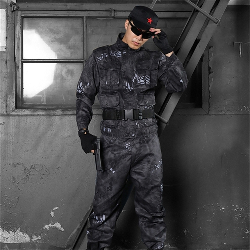 Men Army Tactical Combat Clothes Military Uniform Militar Soldier Special Forces Camouflage Uniforms Outdoor Work Wear Set