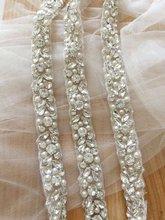 1 Yard Thin rhinestone and pearl beaded trim for wedding belt, bridal sash, gown straps ,bridesmaids belt,rhinestone