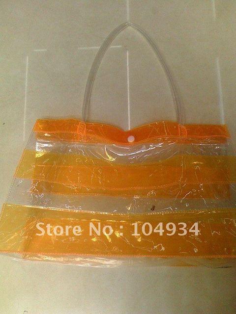 free shipping transparent pvc bag/popular gift packaging bag/orange pvc handbag