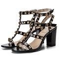 2017 Женская Мода Высокие Каблуки Обувь Из Натуральной Кожи Женщина Сандалии Летом Выдалбливают Дамы Сандалии
