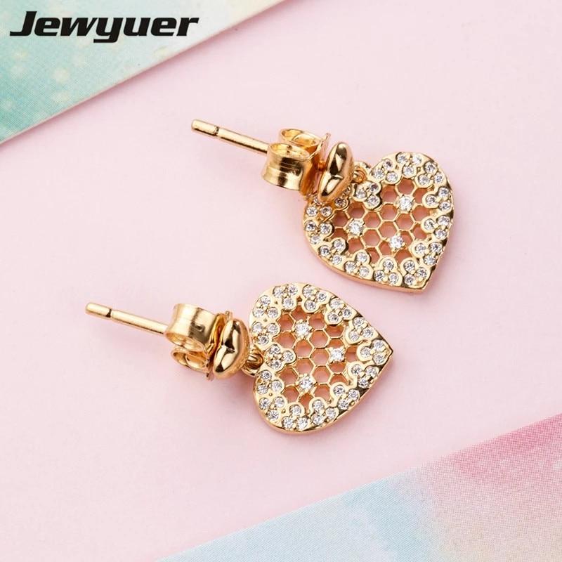 Memnon 2018 Spring Honeycomb Lace hearts Stud Earrings for women 925 sterling silver earring silver brinco fine jewelry ER0107