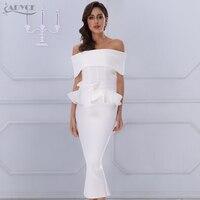 Adyce 2017 New Women Bandage Dress White Slash Neck Short Sleeve Vestidos Bow Ruffles Ankle Length