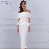 Adyce 2017 New Women Bandage Dress White Slash Neck Short Sleeve Vestidos Bow Ruffles Ankle Length