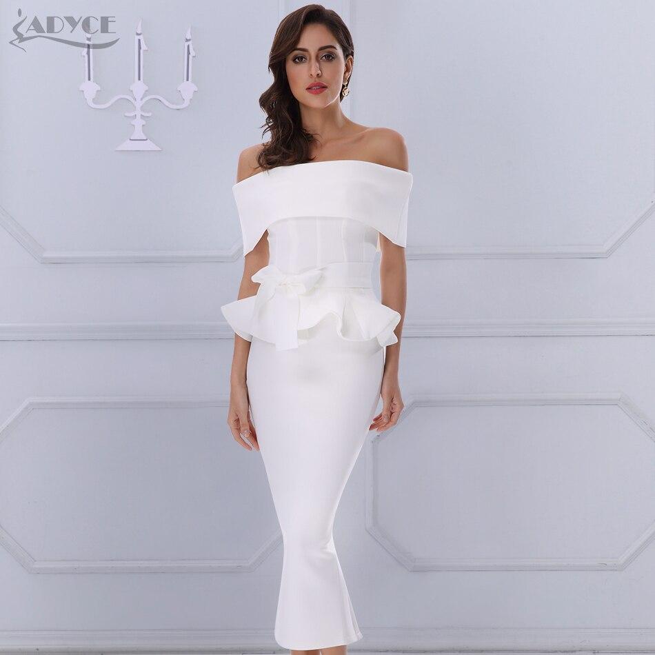 Adyce Bow&Ruffles Ankle Length Celebrity Evening Bodycon Party Dress 2020 New White Slash Neck Short Sleeve Hot Club Dress Women