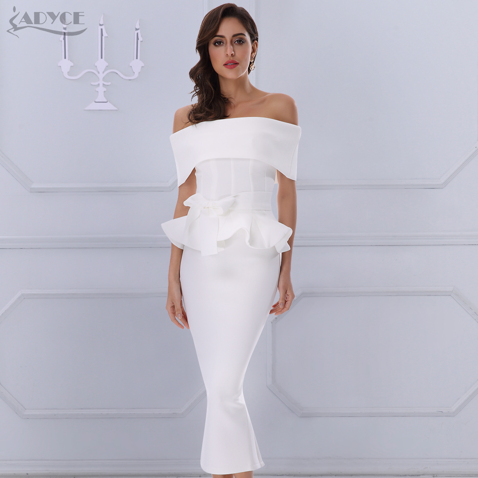 Adyce Bow & Ruffles Tornozelo Comprimento Celebrity Evening Party Dress 2018 Novas Mulheres Bodycon Vestidos Slash Neck Manga Curta Vestido Branco