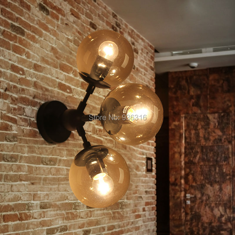 Blueking loft  amber glass wall lamp led MODO Dining Room DNA Drop light 3 heads vintage industrial wall lights art decoratian edison inustrial loft vintage amber glass basin pendant lights lamp for cafe bar hall bedroom club dining room droplight decor