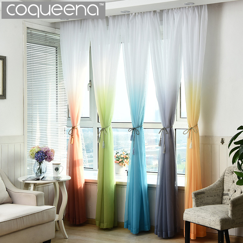 barato ready made custom pura voile cortina de tul para puerta de la cocina dormitorio sala de estar cortinas rampa de degradad
