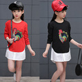 Kids girls spring / autumn T-shirt 2017 new baby girls' clothing fashion bottoming shirt embroidered rooster 5/6/7/8/10/11/12/13